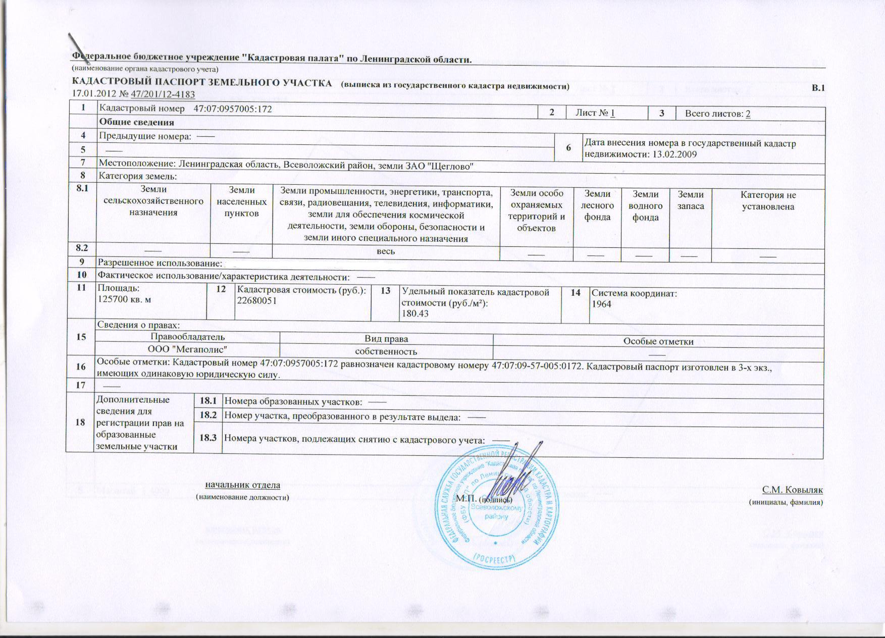 дата внесения номера в государственный кадастр недвижимости